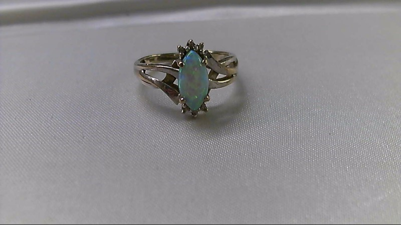 Synthetic Opal Lady's Stone Ring 10K White Gold 2.5g