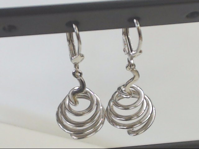 """VINTAGE SOLID REAL 14K WHITE GOLD EARRINGS SPIRAL SWIRL SCREW 1.5"""""""