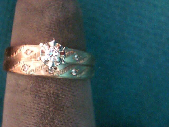 Lady's Diamond Wedding Set 7 Diamonds .13 Carat T.W. 10K Yellow Gold 2.3dwt