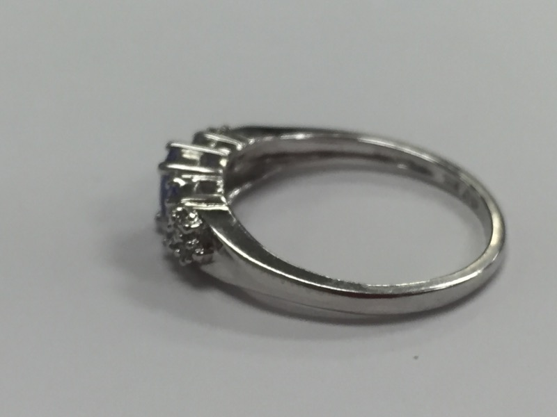 Iolite & Diamond Ring 10K White Gold Ring Size 7