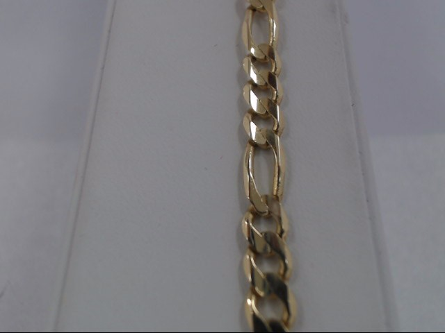 Gold Figaro Bracelet 14K Yellow Gold 8.8g