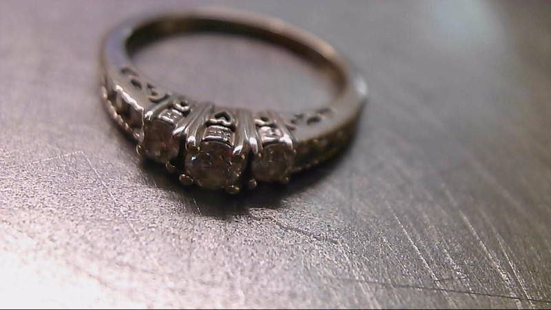 Lady's Diamond Engagement Ring 9 Diamonds .41 Carat T.W. 14K White Gold 2.76g