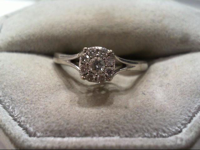 Lady's Diamond Engagement Ring 9 Diamonds .24 Carat T.W. 10K White Gold 2.4g