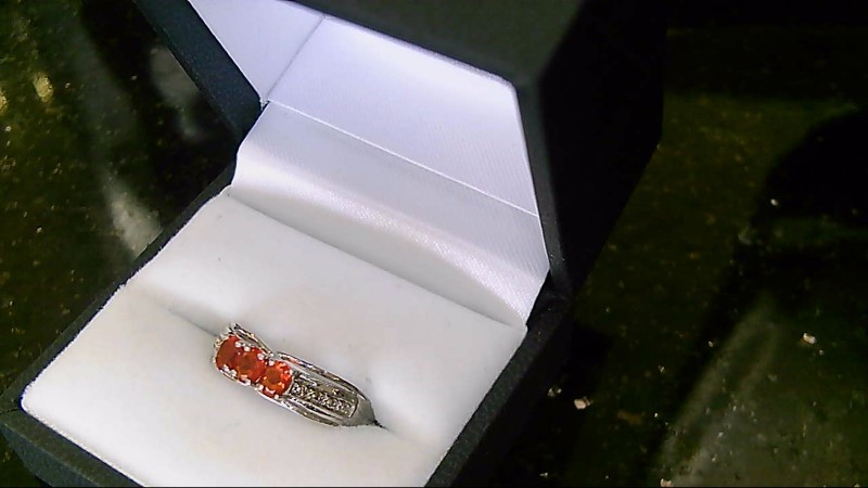 Lady's Orange Stone Silver Ring 925