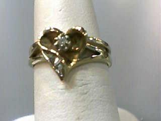 Lady's Diamond Wedding Set 6 Diamonds .07 Carat T.W. 10K Yellow Gold 1.7dwt