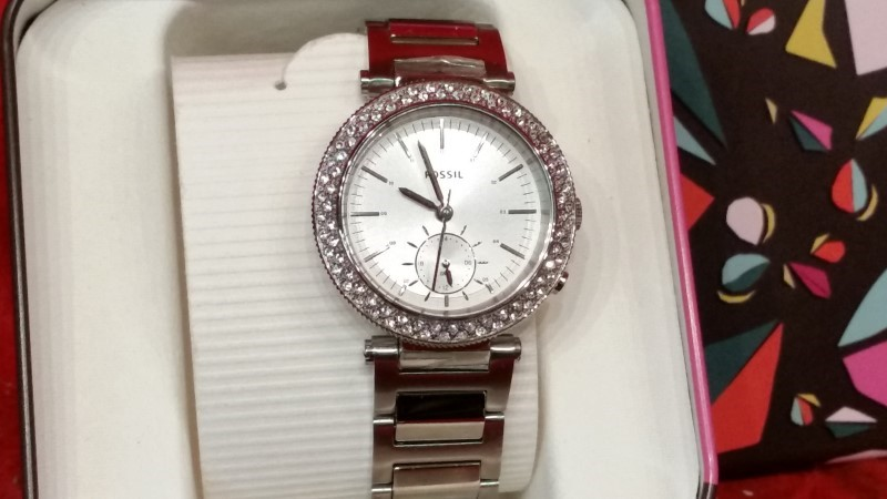 Fossil Ladies Urban Traveler Multifunction Silver Stainless Steel Watch ES3849