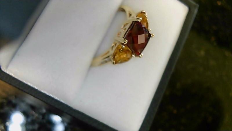 lady's 10k yellow gold almandite and spessartite garnet ring