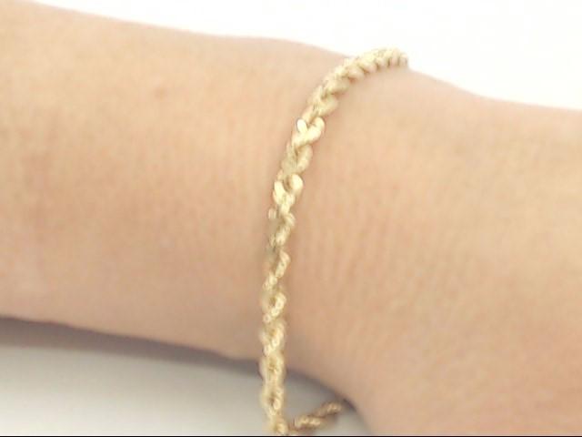 "VINTAGE ROPE BRACELET SOLID REAL 14K YELLOW GOLD 8"" LONG 6.8 GRAMS"