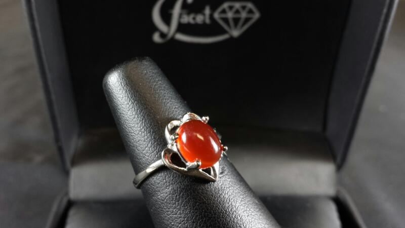 Orange Opal Cabochon Lady's Silver & Stone Ring 925