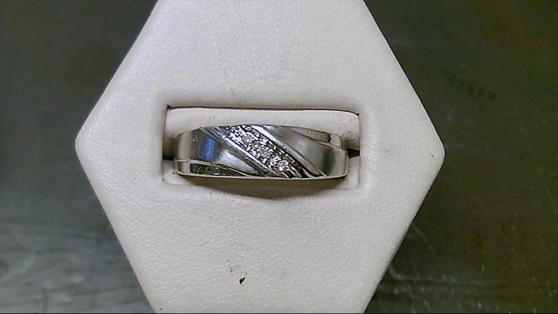 Gent's Silver-Diamond Ring 3 Diamonds .03 Carat T.W. 925 Silver 6.5g