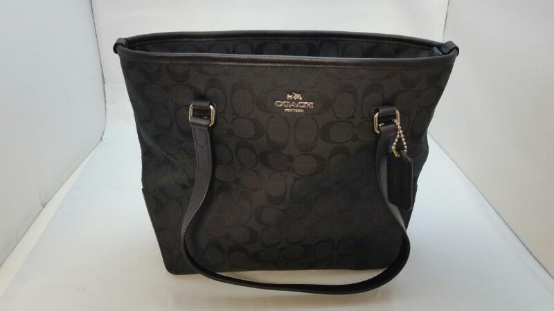 Coach Black Signature Monogram Canvas Zip-Up Tote Handbag Purse F36375