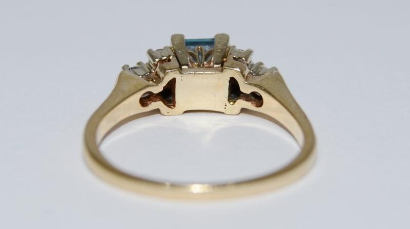 14K Yellow Gold Vintage Inspired Cathedral Princess Aquamarine & Diamond Ring