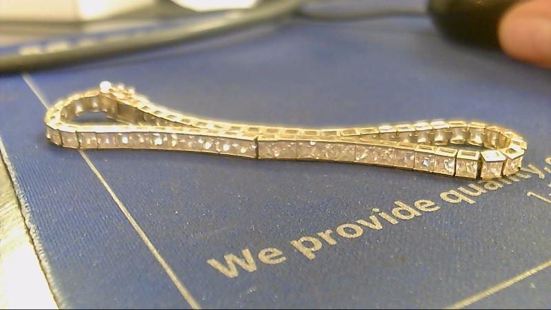 Synthetic Cubic Zirconia Gold-Stone Bracelet 14K Yellow Gold 10.1g