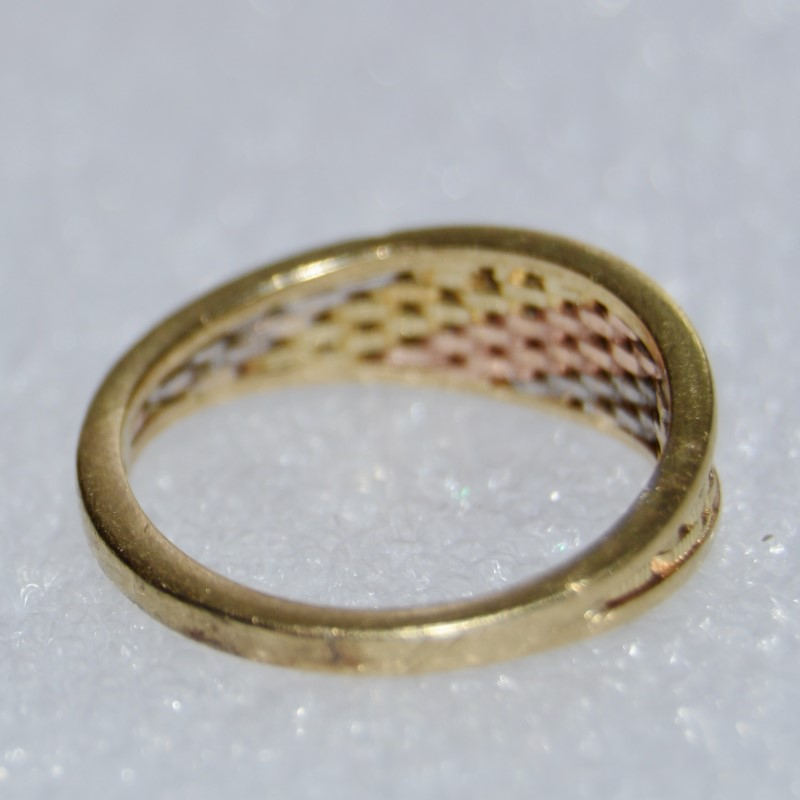 14K Tri-Tone Gold Mesh Link Woven Band Ring Size 6