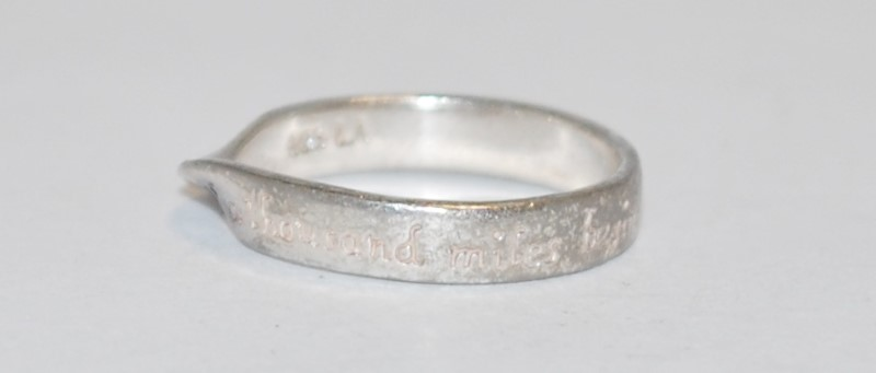 "Women's Sterling Silver ""The Journey of a Thousand Miles..."" Engraved Ring Sz 7"