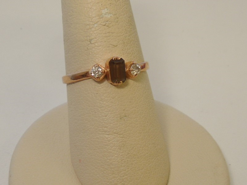 Brown Stone Lady's Stone Ring 14K Rose Gold 1.6g