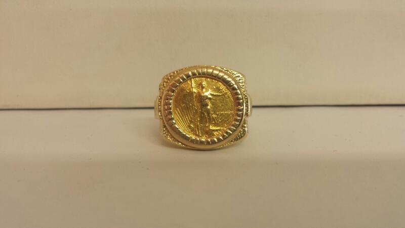 GTS 14k Gold Ring With 1989 $5 Walking Liberty Gold Coin