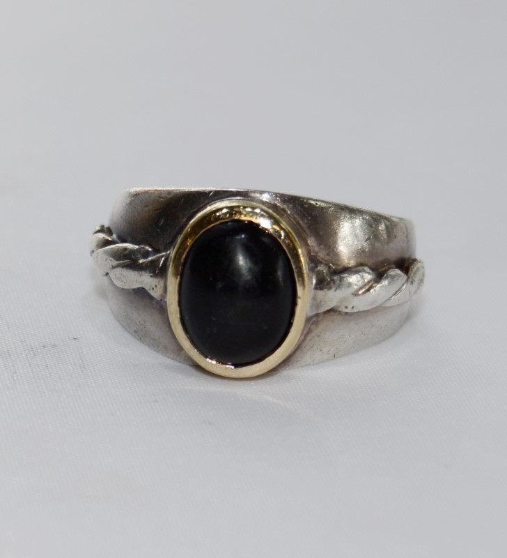 Sterling Silver & Yellow Gold Onyx Men's Ring w/ Rope Details s 10