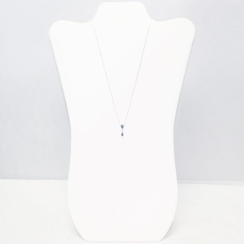 "18"" Sapphire & Diamond Necklace .01 CT. 14K White Gold 1.8g"