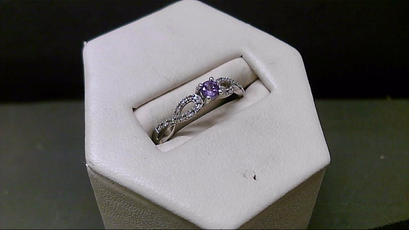Synthetic Amethyst Lady's Silver-Diamond & Stone Ring
