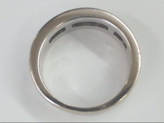 VINTAGE NATURAL DIAMOND WED RING BAND SOLID 14K WHITE GOLD MEN 7.5