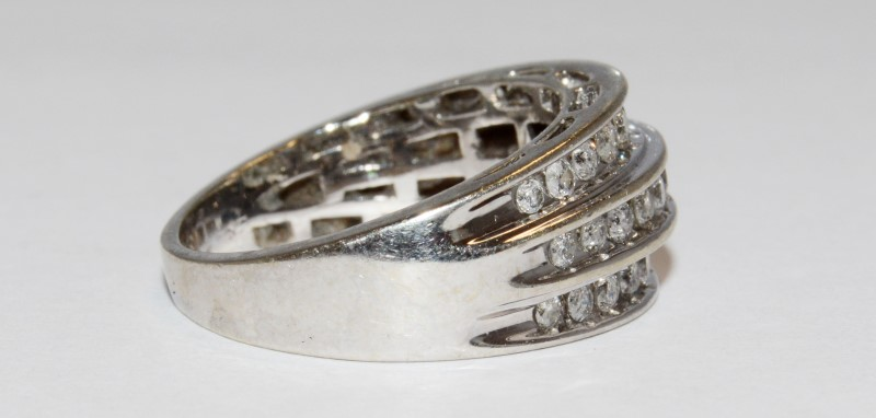 10K Men's White Gold & Triple Channel Set Diamond Wedding Ring