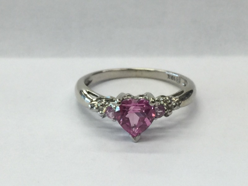 PINK STONE Pink Stone Lady's Stone Ring 10K White Gold 1.4dwt Size:6.5