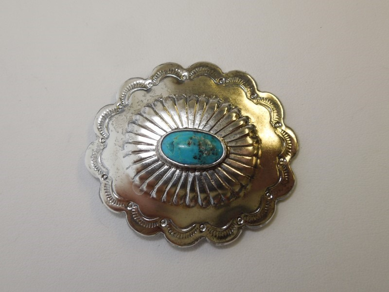 Synthetic Turquoise Silver-Stone Brooch 925 Silver 13.3g