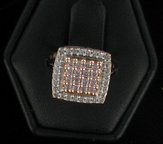 Lady's Diamond Cluster Ring 44 Diamonds 1.32 Carat T.W. 14K Rose Gold 1.8dwt