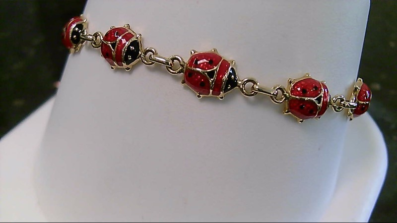 "6"" Gold Ladybug Fashion Bracelet 14K Yellow Gold 6.2g"