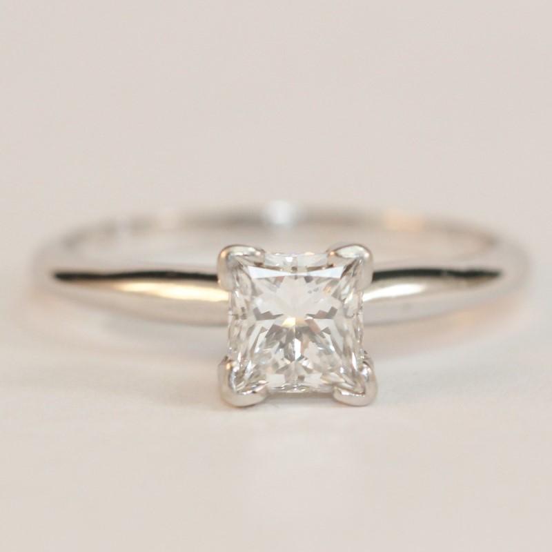 VS1 14K White Gold Princess Cut Diamond Solitaire Ring Size 7.3
