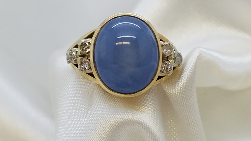 Lady's Star Sapphire & Diamond Ring 6 Diamonds .18 Carat T.W.