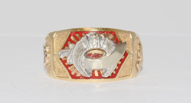 14K Yellow Gold Shriner's Emblem Ring Size 10