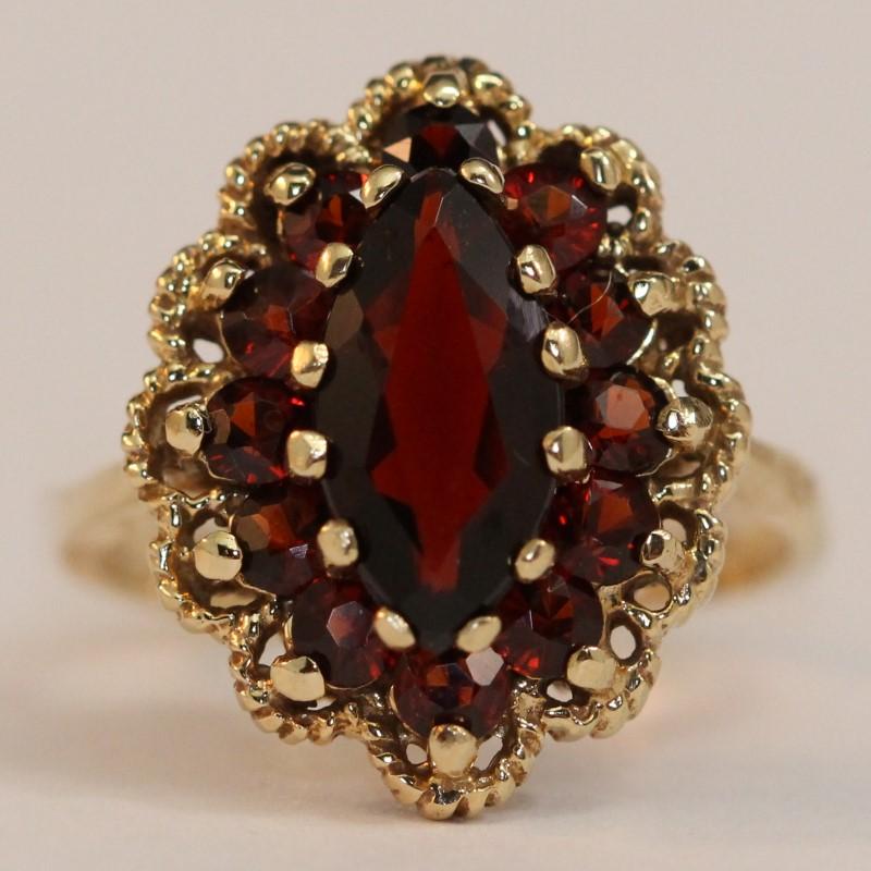 Vintage Inspired 14K Yellow Gold Almandite Garnet Ring Size 6.5