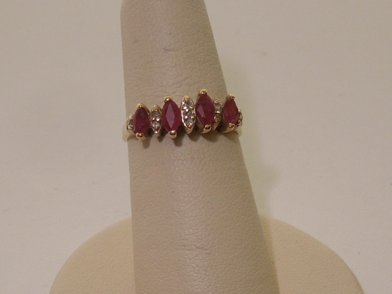 Synthetic Ruby Lady's Stone & Diamond Ring 9 Diamonds .060 Carat T.W.