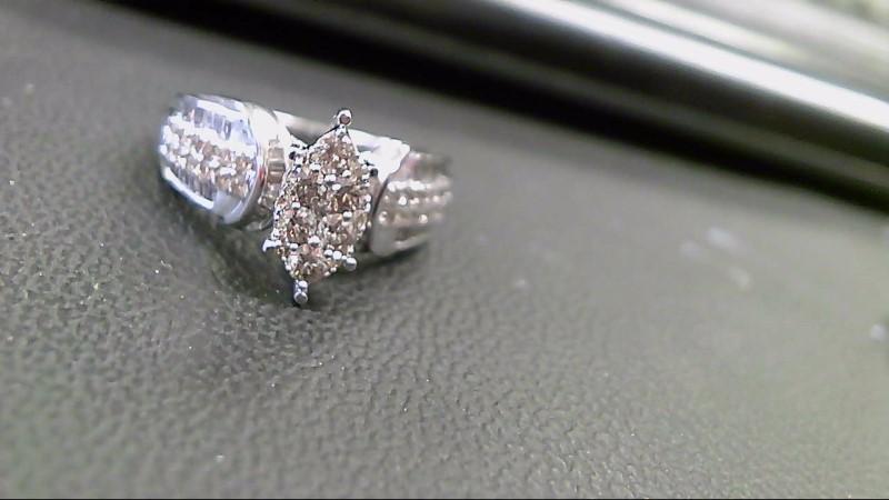 Lady's Diamond Cluster Ring 66 Diamonds 2.28 Carat T.W. 10K White Gold 6.8g