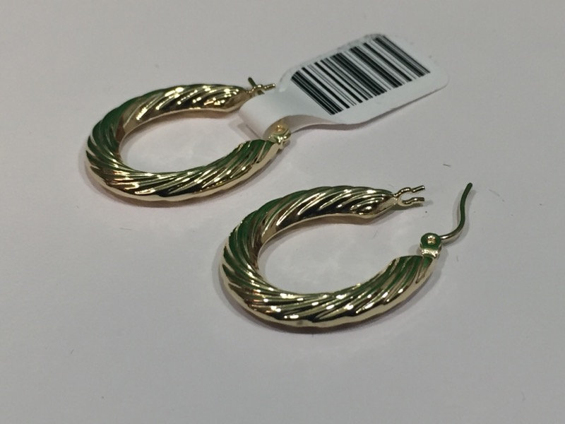 Gold Hoop Clamshell Earrings 14K Yellow Gold 2.1g