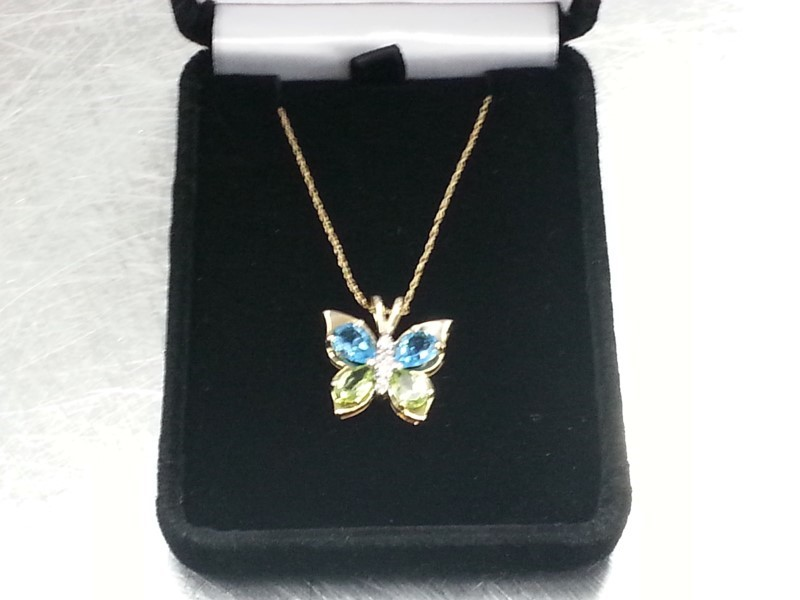 10KYG BUTTERFLY NECKLACE & CHAIN BLUE & GREEN STONES W 4 DAMONDS