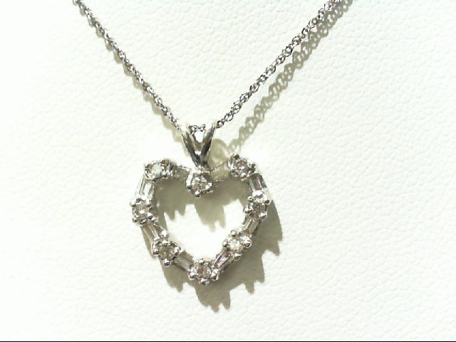 Gold-Multi-Diamond Pendant 16 Diamonds .16 Carat T.W. 14K White Gold 1.7g