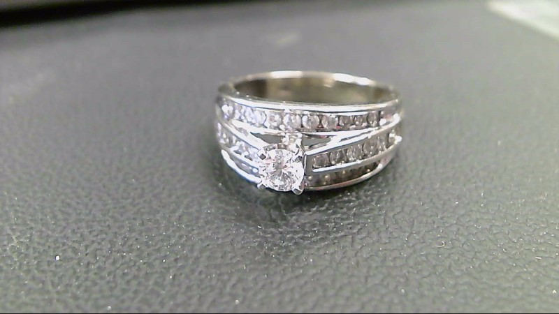 Lady's Diamond Engagement Ring 35 Diamonds 1.27 Carat T.W. 14K White Gold 5.1g