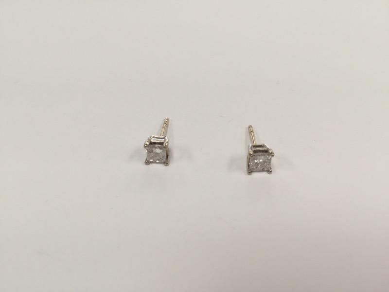 Gold-Diamond Earrings 2 Diamonds .66 Carat T.W. 14K White Gold 0.8g