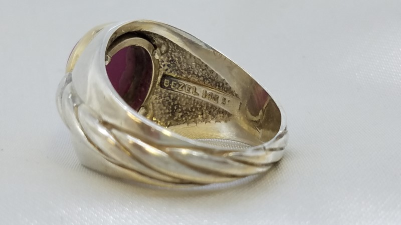 Star Ruby Gent's Silver & Stone Ring 925 Silver 12.8g Size:10