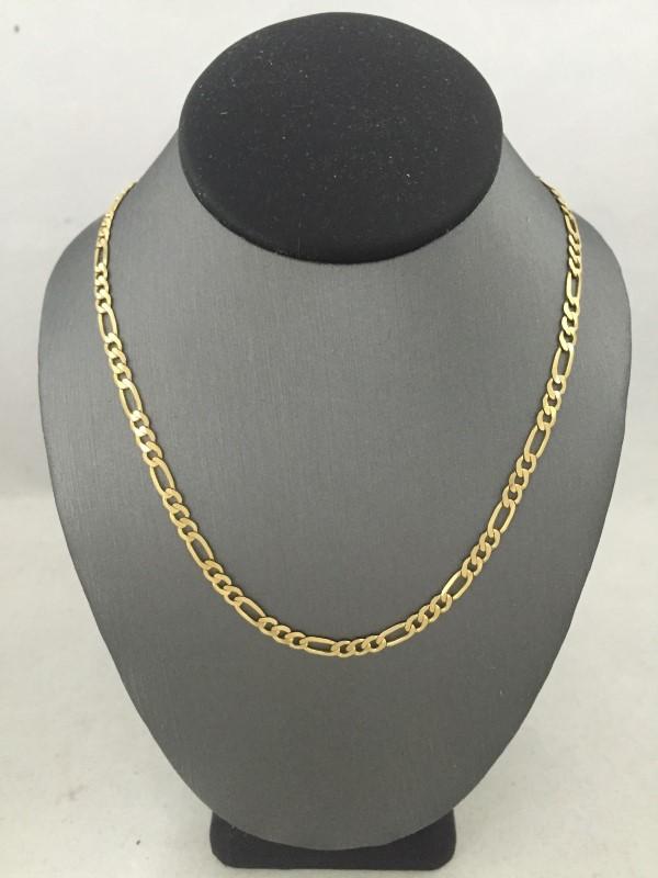 "20"" Gold Figaro Chain 14K Yellow Gold 4.5dwt"