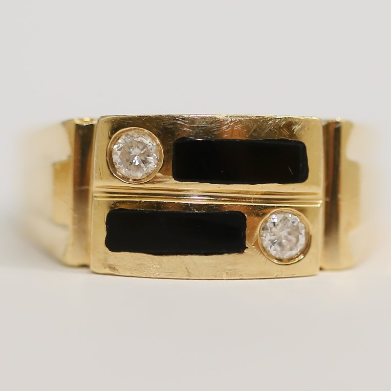 Onyx Bar and Round Diamond 14K Yellow Gold Ring Size 10