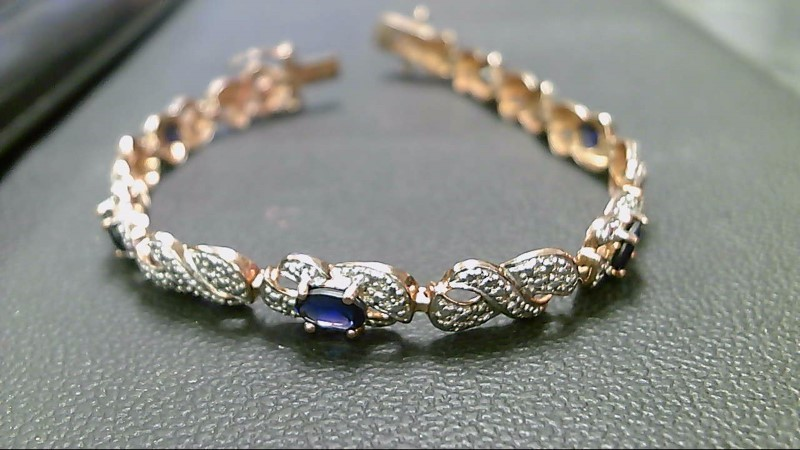 Synthetic Sapphire Silver-Stone Bracelet 925 Silver 11.6g