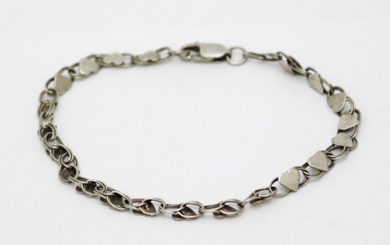 Sterling Silver Double Cable Chain Polished Hearts Bracelet