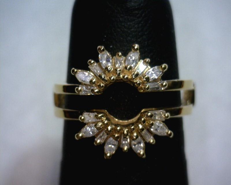 Lady's Gold-Diamond Ring Guard 18 Diamonds .26 Carat T.W. 14K Yellow Gold