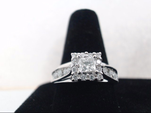 Lady's Diamond Cluster Ring 19 Diamonds .74 Carat T.W. 14K White Gold 4.1g