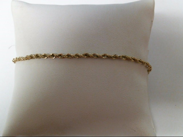 Gold Rope Bracelet 10K Yellow Gold 1.4g