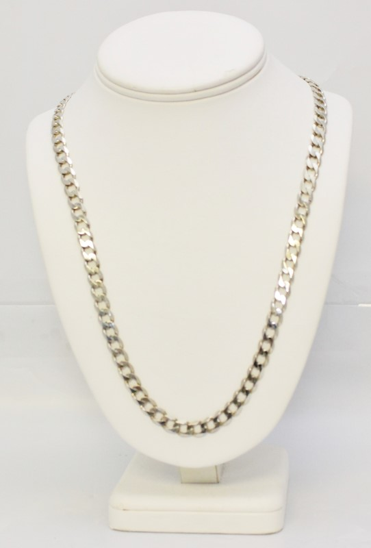 """Sterling Silver 25"""" HEAVY 40G 7.5MM Italian Curb Link Chain Necklace"""